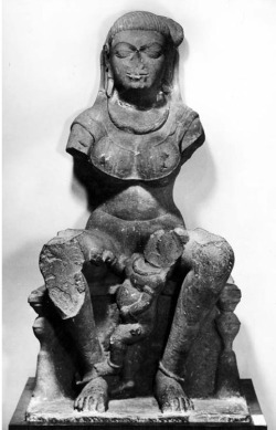 Fig. 9. Mātṛkā. Early 5th c. Besnagar, Vidisha District, Madhya Pradesh, India. Sandstone. National Museum, New Delhi, 51.101. Photograph: Courtesy of the American Institute of Indian Studies, 6514.