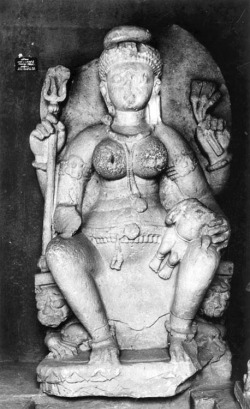 Fig. 10. Ambikā. Late 7th c. Gyaraspur, Vidisha District, Madhya Pradesh, India. Sandstone. Archaeological Museum, Gwalior. Photograph: Courtesy of the American Institute of Indian Studies, 34141.