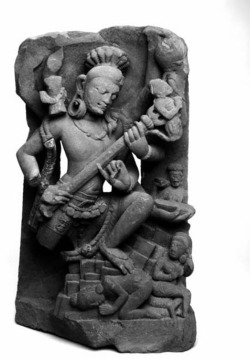 Fig. 15. Śiva Andhakāsuravadha (Śiva Slaying the Demon Andhaka). Ca. 750-800. Probably southern Uttar Pradesh or neighboring Madhya Pradesh, India. Red sandstone; h. 69.2, w. 41.6, d. 28.6 cm. The Brooklyn Museum of Art, Gift of the Ernest Erickson Foundation, Inc., 86.227.145.