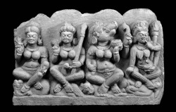 Fig. 19. Four of the seven Mother Goddesses. Ca. 750800. Madhya Pradesh or Uttar Pradesh, India. Sandstone; h. 56, w. 84, d. 15 cm. Asian Art Museum of San Francisco, Gift of Dr. Stephen A. Sherwin and Merrill Randol Sherwin, F2004.38. © Asian Art Museum of San Francisco. Used by permission.
