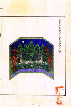 Fig. 10. Eight-panel Screen of the Five Peaks. Illustration from the Euigwe of the Painting of Gojong's and the Crown Prince's Portraits. 1902. Gyujanggak Library, Seoul National University, Korea.