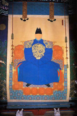 Fig. 12. Portrait of King Taejo. Copy made in 1872. Displayed with a Screen of the Five Peaks. Hanging scroll; ink and color on silk; 199.8 x 119.9 cm. Gyeonggi-jeon Hall, Jeonju, North Jeolla Province, Korea.