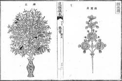 Fig. 15. Various types of artificial flowers made for the Royal Banquet for Queen Mother Sinjeong, 1887. Illustration from the Royal Banquet Euigwe of the Queen Mother Sinjeong. 1887. Jangseo-gak Library, Academy of Korean Studies, Seongnam, Gyeonggi Province, Korea.
