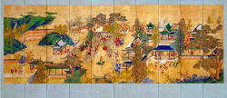 Fig. 18. Happy Life of Guo Ziyi Screen. Ten-fold screen; ink and color on silk; 197.49 x 335.28 x 1.59 cm. Minneapolis Institute of Arts, Gift of funds from Fred and Ellen Wells.