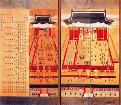 Fig. 20. Panels 7 through 10 of the Palace Banquet Screen. Dated to 1887. Ten-fold screen; ink and color on silk; 182.9 x 511.2 cm. National Museum of Korea, Seoul.