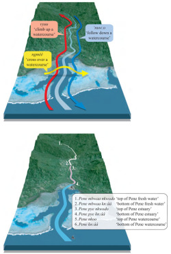 Figure 4. Top panel: The Yélî Dnye vector template applied to watercourses (illustrated with landscape transitives). Bottom panel: The Yélî Dnye names for vector ends for each river segment (example toponyms).