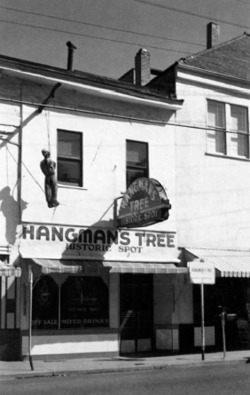 Figure 1. California State Landmark #1414 and Hangman's Tree Historic Spot, Placerville, CA. 1954. Postcard. Photograph by Merle Porter. Courtesy of Royal Pictures, Colton, CA.