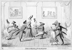 "Figure 3. George Cruikshank, Specimens of Waltzing (1817). Cruickshank's satire on waltzing, like Gillray's (also published by Hannah Humphrey), calls attention to the incongruous bodies and awkward lewdness of the physical combinations such partnering produced. Cruickshank's framed portrait of dogs waltzing placed in the background of his drawing snidely gestures to the then fashionable medical practice of comparative anatomy. Cruickshank's anatomy of these waltzing ""specimens,"" rather than modeling the fearfully ""voluptuous intertwining of the limbs"" that had so shocked the editors of The Times of London one year prior, depicts waltzers as vulgar and clumsy: dancers legs attack the air as they seek the space between their partners' legs; coattails cut through the air like blades; partners lean away from one another at dangerous, unsustainable angles; one man's nose hooks sharply into his partner's waist while he peers up at his partner's décolleté bosom; another man's obese stomach nearly touches his partner's visible thighs; the women have pointy chins and noses, as well as severely angular coiffures, described by Mary Dorothy George as a style known as a ""sugar-loaf erection."""