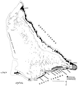 Figure 2. Tarawa Atoll (modified from : fig. 1; reprinted with permission from Gustav Paulay).