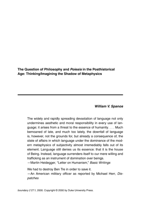 Project Muse The Question Of Philosophy And Poiesis In
