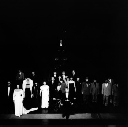Figure 4. Martin Wuttke as Ui leads the cast of the 1995 Berliner Ensemble production of Brecht's The Resistable Rise of Arturo Ui, directed by Heiner Müller. (Photo by Brigitte M. Mayer)