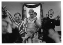 "Figure 2. ""Voters in Augusta, Me., celebrated yesterday after learning the results of Tuesday's referendum, in which a law banning discrimination against gay men and lesbians, enacted last year, was repealed."" New York Times, February 12, 1998. Photo: AP."