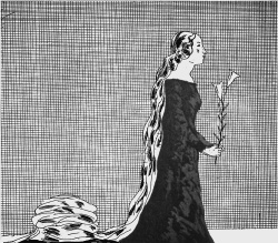 "Figure 9. ""The Older Rapunzel"" (1969). Etching and aquatint (17-1/2 × 15-3/4 inches). Copyright © David Hockney. Source: Illustrations for Six Fairy Tales from the Brothers Grimm."