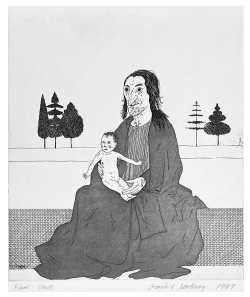 "Figure 11. ""The Enchantress with the Baby Rapunzel"" (1969). Etching and aquatint (17-1/2 × 15-3/4 inches). Copyright © David Hockney. Source: Illustrations for Six Fairy Tales from the Brothers Grimm."