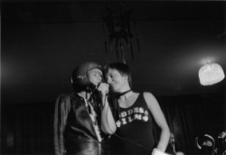 Figure 2. Barbara Hammer moderates her Dyke Fashion Show performance, The Womans Building, Los Angeles, late nineteen-seventies.