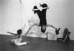 Figure 7. Production still from Double Strength, 1978. Terry Sendgraff on floor; Barbara Hammer on trapeze. Photo courtesy Barbara Hammer.