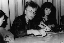 Figure 10. Barbara Hammer on a panel discussing sexuality and representation at FEMINALE, Internationales Frauenfilmfestival, Köln, Germany, 1994.