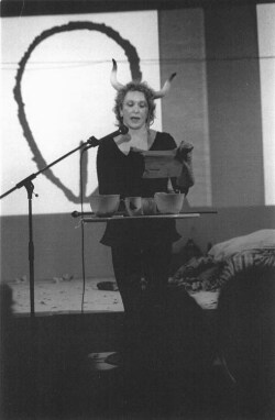 Figure 10. Carolee Schneemann performing Enter... Vulva. Denmark, 1997.