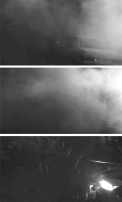 Figure 1. Transition through the smoke in the accident's aftermath. From Mulholland Drive (dir. David Lynch), © 2002 Universal Studios.