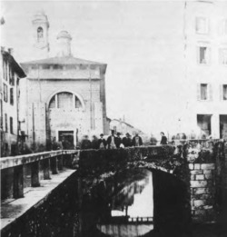 2. Bridge at the Porta Ticinese, Milan, Italy, constructed in 1171, photographed in 1860, before restoration work by Boito and the engineer Emilio Bignami.