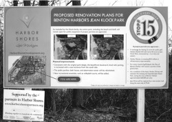 Figure 2. Project sign explaining the Harbor Shores Community Redevelopment Corporation's utilization of portions of Jean Klock Park and proposed measures to mitigate its encroachment on the site, winter 2009. Photograph by Michael J. Chiarappa.
