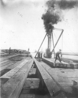 Figure 5. Late nineteenth/early twentieth-century cribwork and bulkhead construction on the channel clearing South Pier at the confluence of the St. Joseph River and Lake Michigan. Courtesy of the Heritage Museum and Cultural Center.