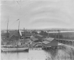 Figure 16. W. A. Preston Planing Mill and Lumber Yard, St. Joseph, Michigan, circa 1892–1902. Throughout the United States, many lumber mills located on water readily accommodated shipbuilding and ship repair operations, and this site was no exception, as it gradually gave way to the Truscott Boat Company. Courtesy of the Heritage Museum and Cultural Center.