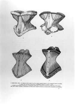 Figure 2. Drawings of corset styles from Libron and Clouzot. 1. The Corset Léoty, 1867; 2. Corset of 1872, price FF6.90 at the Grand Marché Parisien; 3. Seamless corset with hand embroidery; 4. Corset with 54 bones, waist 46.5 cm. (The last two were exhibited at the Exposition of 1878 by Messrs. Libron and Stiegler.)