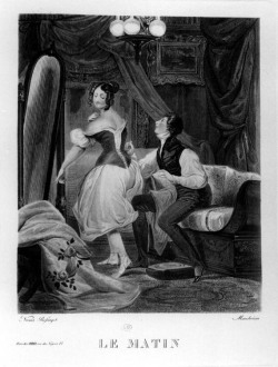 "Figure 5. ""Le Matin (The Lover as Lady's Maid),"" anonymous lithograph ca. 1830, in Libron and Clouzot."