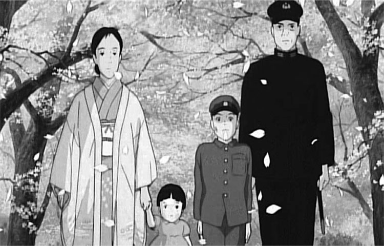 A family portrait in Grave of the Fireflies.
