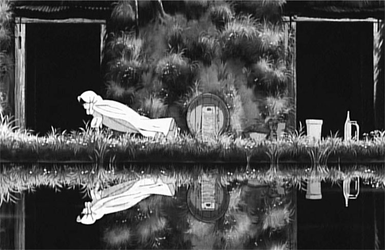 Figure 4. From Seita's memories of Setsuko after she has died: Setsuko runs back and forth in front of their cave with a sheet billowing out behind her. The image is mirrored in the water.