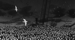 Figure 4. Seagulls visually dominate the scene at Lot 18 where Tsuge made his headquarters and where he is captured by Nagumo's band of vigilantes.