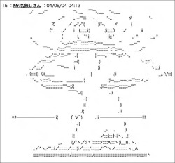 "Figure 4. ASCII art from the ""raw archive"" of Densha Otoko's story on 2channel. (accessed July 4, 2008)."