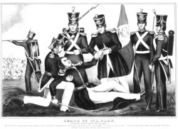 "Figure 3. ""Death of Col. Clay, Battle of Buena Vista, Feb. 23, 1847."" Given his famous father, Lt. Col. Henry Clay Jr.'s death at Buena Vista attracted great attention. However, the immigrant community paid more attention to the deaths of German Lt. Alexander Konze and Polish Capt. Jacob Zabriskie, both known liberal revolutionaries who had recently emigrated to the United States. Courtesy of the Library of Congress."
