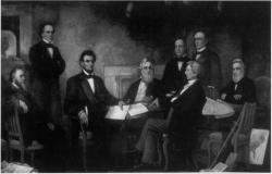 Figure 1. Francis Bicknell Carpenter, First Reading of the Emancipation Proclamation of President Lincoln (oil on canvas, 1864), U.S. Capitol, Washington, D.C. Carpenter painstakingly reproduced the map in the lower right corner of the painting after he noticed that it captured Lincoln's attention.
