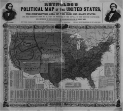 Figure 4. Reynolds's Political Map of the United States (1856) used both statistics and geography to project the growth of slavery into the West. Maps such as this were used in John Frémont's campaign of 1856. Geography and Map Division, Library of Congress.