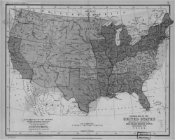 Figure 5. Scottish mapmaker A. K. Johnston began to differentiate areas of slavery's growth and decline in his Map of the United States (1857). American maps, however, had yet to achieve this level of sophistication. Geography and Map Division, Library of Congress.