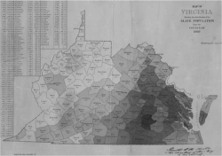 Figure 6. U.S. Coast Survey, Map of Virginia Showing the Distribution of Its Slave Population from the Census of 1860. The Coast Survey also produced this map of slavery in Virginia in summer 1861, probably to influence the ongoing debates that would ultimately lead to the creation of West Virginia. Geography and Map Division, Library of Congress.