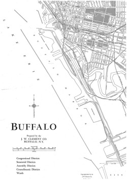 Figure 2. This 1963 map shows the main features of the landscape traversed by the Skyway, including the Buffalo River, the City Ship Canal, and Ohio Street, where a lift bridge over the Buffalo River had restricted the flow of automobiles. Courtesy, Buffalo and Erie County Historical Society.