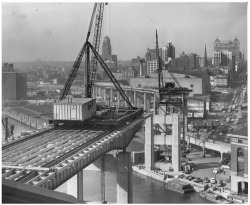 Figure 5. The Skyway under construction, April 14, 1955. Courtesy, Buffalo and Erie County Historical Society.