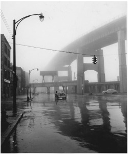 "Figure 7. A ""noir"" image of the Skyway, May 13, 1958. Courtesy, Buffalo and Erie County Historical Society."