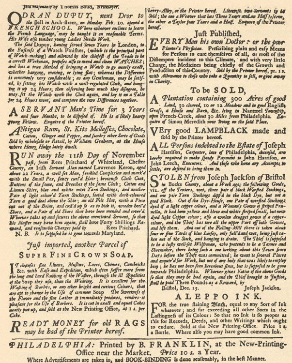 A Page of Advertisements from Franklin's Philadelphia Gazette, 17356
