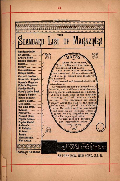 A List of Magazines from 1889 with Rates for Placing Ads15