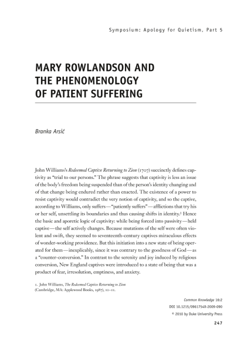 an explanation of mary rowlandsons biblical references during her captivity Comparing rowlandson's captivity narrative mary rowlandson's captivity narrative is about her more about comparing rowlandson's captivity narrative with.