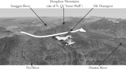 Figure 3. Looking east across Mt. Huangwei, showing 936 Liao invasion route : This bird's eye view of the vicinity of Mt. Huangwei was produced using Google Earth, ©TerraMetrics 2006, ©Google 2005. The hypothetical observer is situated at an altitude of 20.0 kilometers. On this image, elevations are accentuated three-fold to enable visualization of mountainous terrain even at such a high altitude. The Liao invasion of 936 made use of the Yangwu 揚武 valley (see ZZTJ 280:9148), coinciding with the valley just above Yangwu 陽武 Village, which appears southwest of Guoxian 崞縣 on map NJ 49–8 (series L500, edition 1-AMS), compiled by the Army Map Service, Corps of Engineers in 1955.