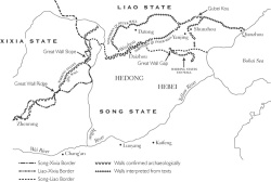 Map 1. Remains of the Great Wall under the Northern Song (opposite) : Wall locations have been reconstructed on the basis of references cited in the footnotes. The course of the Song-Liao border is adapted from Tan Qixiang 譚其驤, Zhongguo lishi ditu ji 中國歷史地圖集 (Shanghai: Ditu chubanshe, 1982), vol. 6; the course of the Song-Xi Xia border is adapted from Li Huarui, Song Xia guanxi shi, 224. Note that both Tan and Li base their maps largely on literary sources.