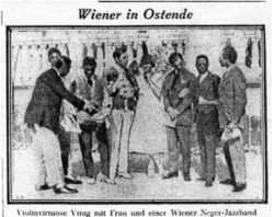 Figure 6. 1925-08-05. Mr. and Mrs. Virag, violinist from Vienna, with members of the Briggs orchestra at Ostende. Die Stunde, p. 10. Courtesy of Konrad Nowakowski.