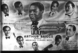Figure 22. 1937-02-ca. Arthur Briggs and His American-Cubano Boys, photo montage, dedicated to the Melody Maker Unidentified, except Briggs (trumpet).