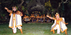 Plate 5. The demang and tumenggung before the entrance of Macbeth and Banquo during a commissioned performance of Gambuh Macbeth at Rangki in Abianbase, Mengwi, Bali in July 2000. (Photo: Brett Hough)