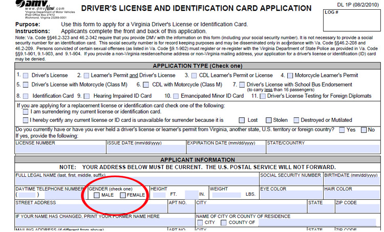 The State of Virginia Driver's License Application Asks the Applicant to Indicate Gender3